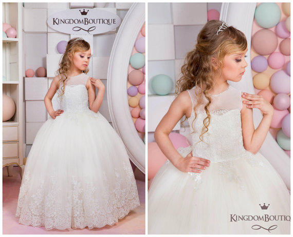 b5587673b51 Ball Gown Ivory Scoop Appliques Illusion Neckline Flower Girl Dress First  Communion Dresses Custom Made Kid Pageant Dress Floor-length Appliques Hem  Flower ...