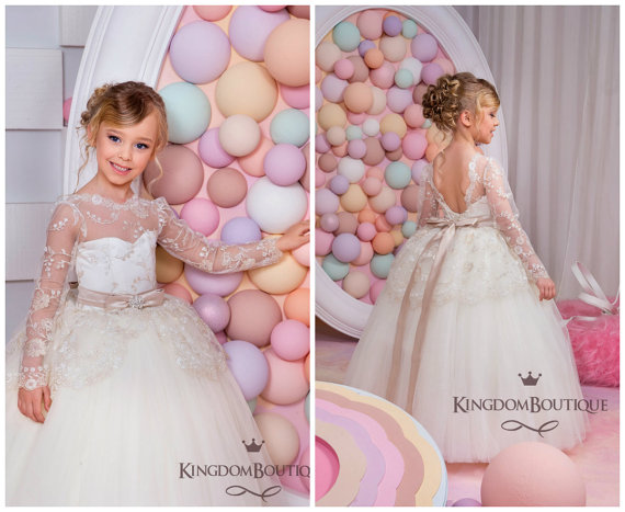 f0901073924 Puffy Ball Gown Lace Long sleeves Flower Girl Dresses With Champagne Belt  Ivory First Communion Dresses With Champagne Belt Girl Dress for wedding