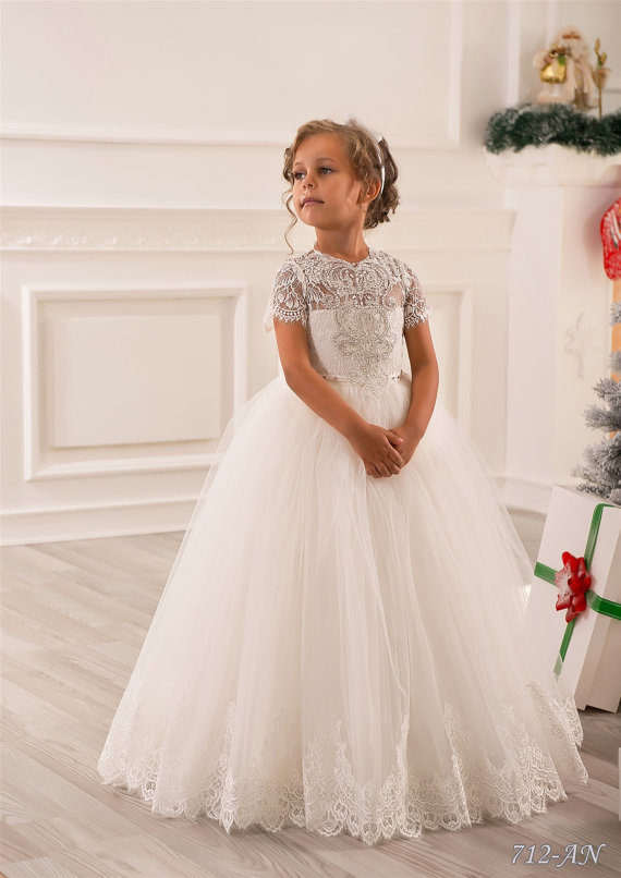 sparkling crystals flower girl dress ivory short sleeves first communion  dress ivory flower girl dress 6bfb6786eeff