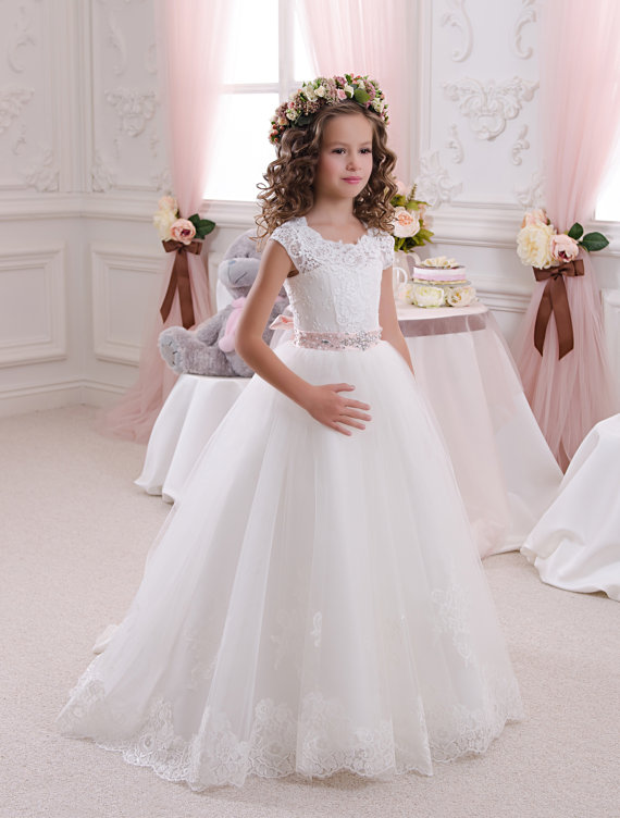 332543025 a-line cap sleeves flower girl dress key hole appliques hems first  communion dress with beaded belt white first communion dress