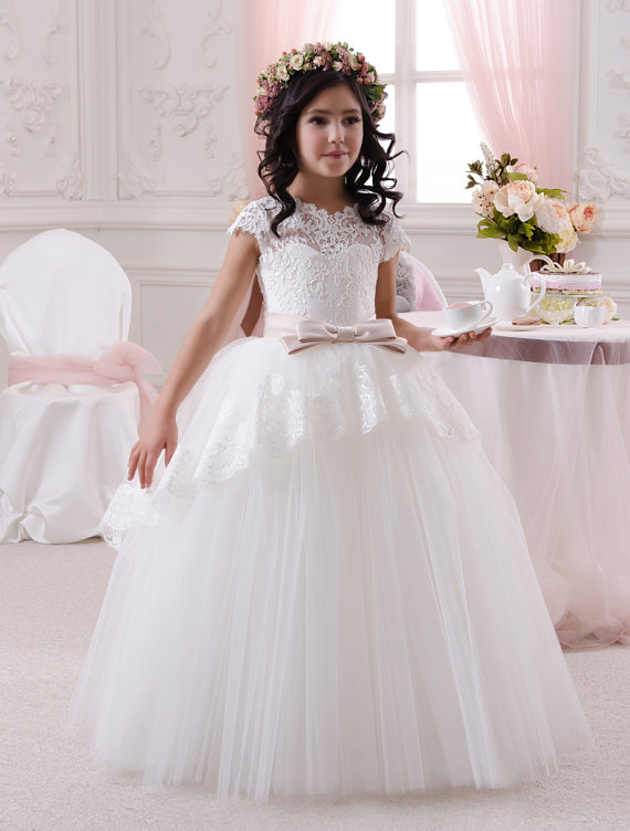 a3b7140436f First Holy Communion Dress Puffy Ball Gown ivory First Communion Dress  Custom Made Flower Girl Dress with Blush Pink Belt Girls Dress For Wedding