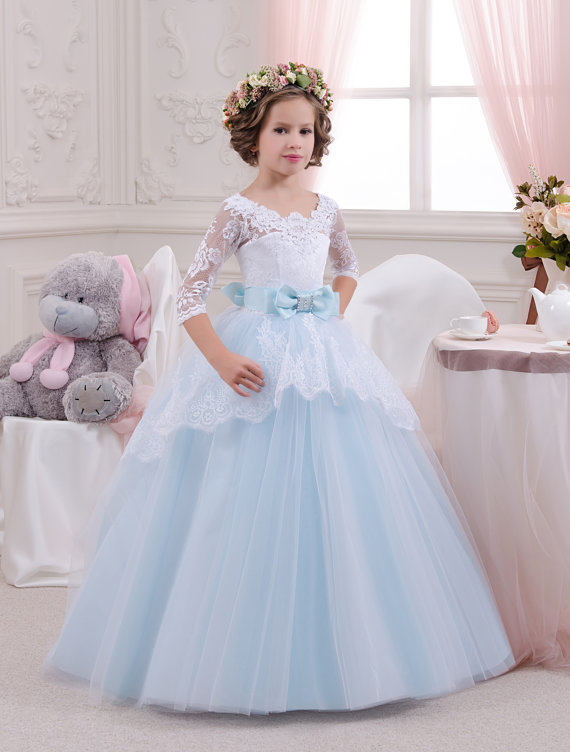 5971fa4dd15a5 First Holy Communion Dress Puffy Ball Gown Ivory First Communion Dress Sky  Blue First Communion Dress Custom Made Girls Party Dresses