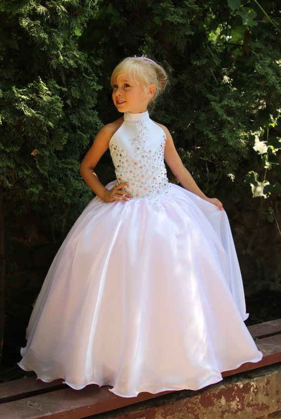 Kids Baby Girls Bridesmaid Wedding Party Satin Lace White Flower Dress Gloves