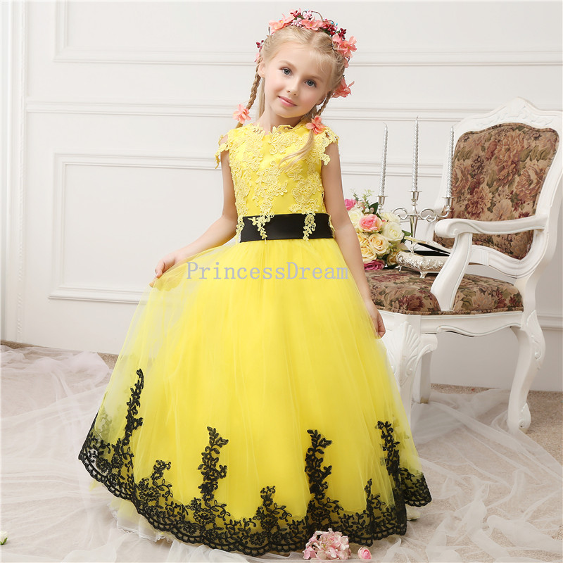 Yellow flower girl dress with black appliqueslace appliques kid yellow flower girl dress with black appliqueslace appliques kid pageant dressyellow flower girl dresscustom made flower girl dress mightylinksfo