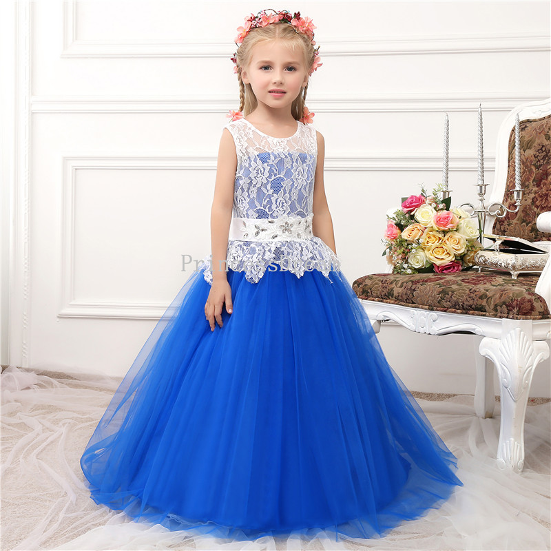 5b92dc999dabb Royal Blue Princess Dress For Girl,Royal Blue Flower Girl Dress,Royal Blue  Kid Dress For Wedding,First Communion Dress,Long Kid Dresses